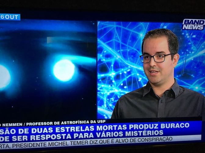 Participação no Jornal Band News: Colisão de estrelas de nêutrons
