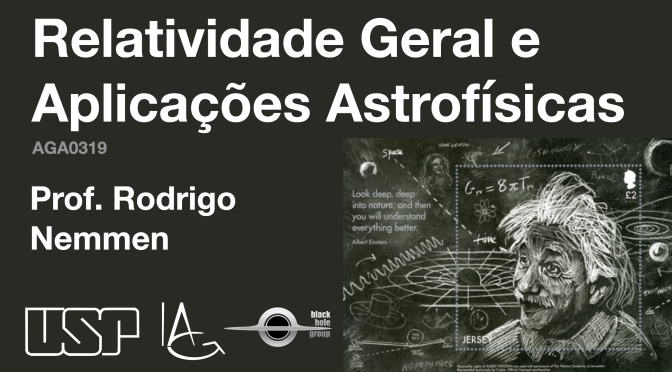 """Curso """"relatividade geral e aplicações astrofísicas""""  será disponibilizado no Youtube"""